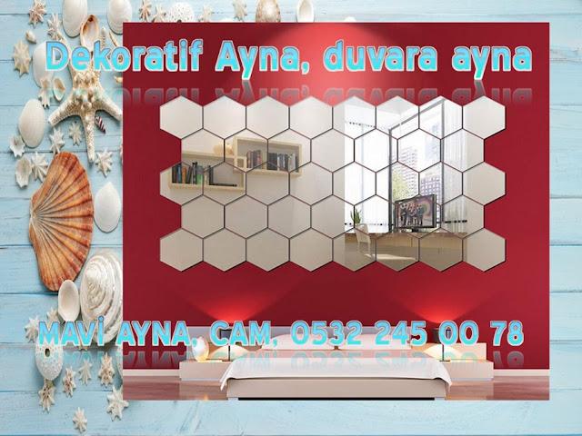 Dekoratif Ayna, duvara ayna, Duvara ayna kaplama, bal peteği ayna, Altıgen Ayna, duvara ayna döşeme, şekilli ayna, Hexagon Mirror, baklava desenli ayna,